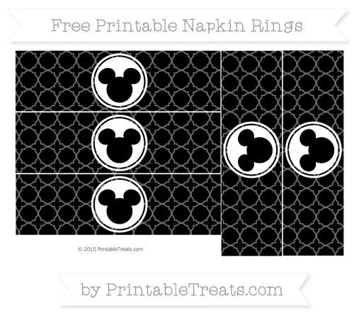 Free Black Quatrefoil Pattern Mickey Mouse Napkin Rings