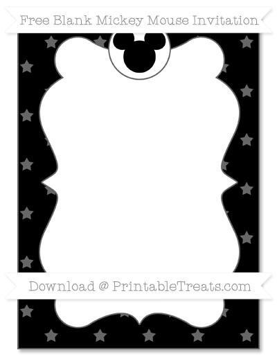 Free Black Star Pattern Blank Mickey Mouse Invitation