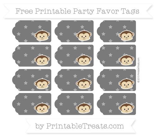Free Black Star Pattern Boy Monkey Party Favor Tags