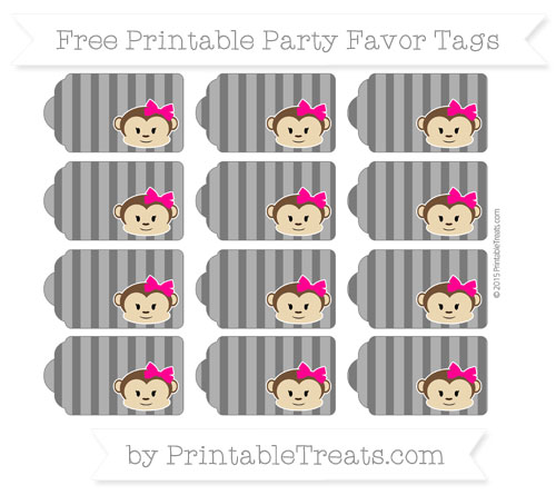 Free Black Striped Girl Monkey Party Favor Tags