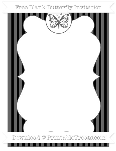 Free Black Thin Striped Pattern Blank Butterfly Invitation