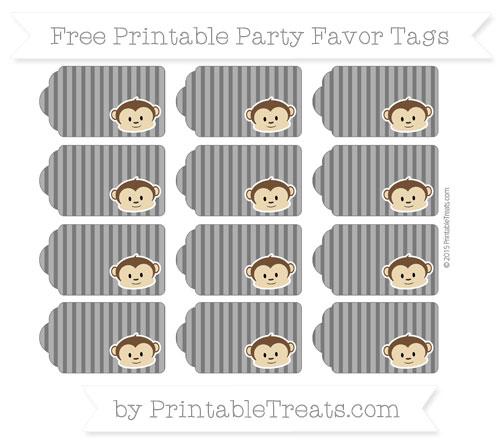 Free Black Thin Striped Pattern Boy Monkey Party Favor Tags