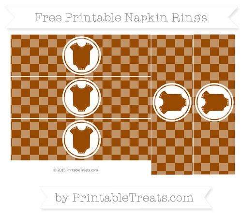 Free Brown Checker Pattern Baby Onesie Napkin Rings