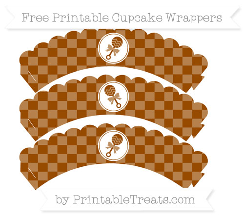 Free Brown Checker Pattern Baby Rattle Scalloped Cupcake Wrappers