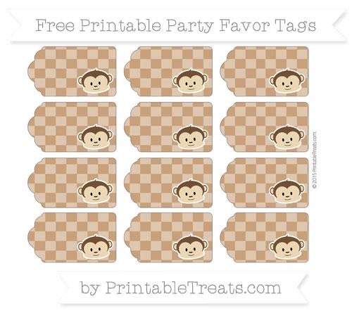 Free Brown Checker Pattern Boy Monkey Party Favor Tags