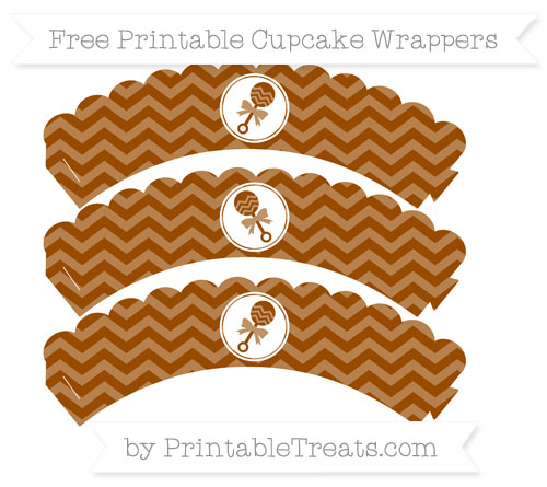 Free Brown Chevron Baby Rattle Scalloped Cupcake Wrappers