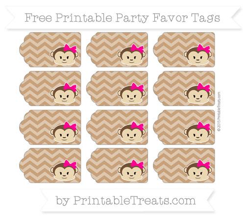 Free Brown Chevron Girl Monkey Party Favor Tags
