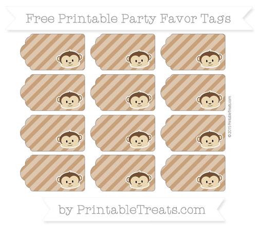 Free Brown Diagonal Striped Boy Monkey Party Favor Tags