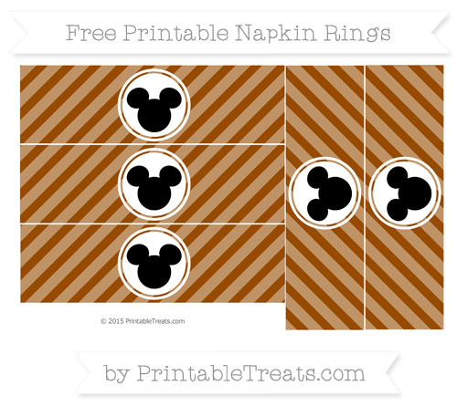 Free Brown Diagonal Striped Mickey Mouse Napkin Rings