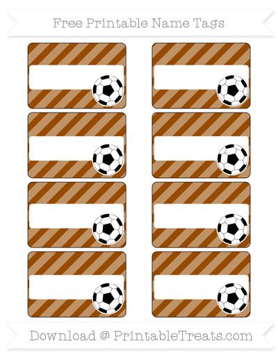 Free Brown Diagonal Striped Soccer Name Tags