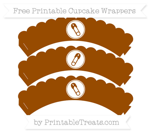 Free Brown Diaper Pin Scalloped Cupcake Wrappers