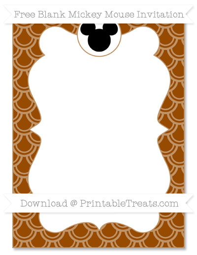 Free Brown Fish Scale Pattern Blank Mickey Mouse Invitation