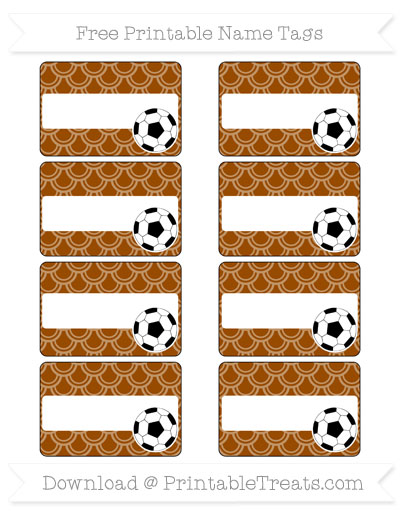 Free Brown Fish Scale Pattern Soccer Name Tags