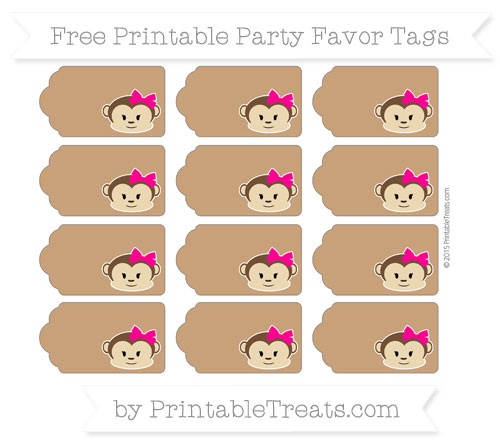 Free Brown Girl Monkey Party Favor Tags