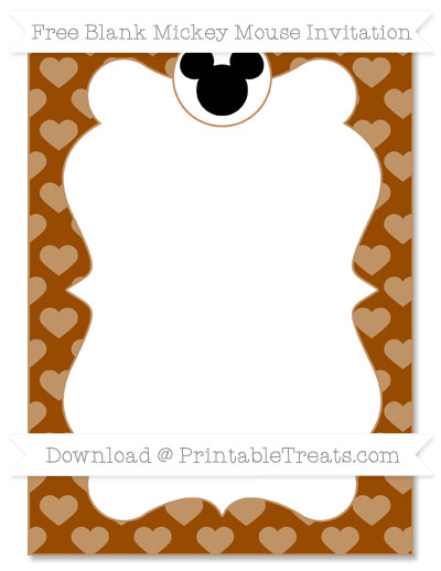 Free Brown Heart Pattern Blank Mickey Mouse Invitation