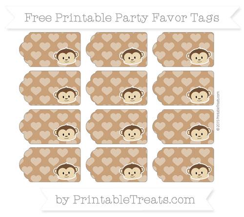 Free Brown Heart Pattern Boy Monkey Party Favor Tags
