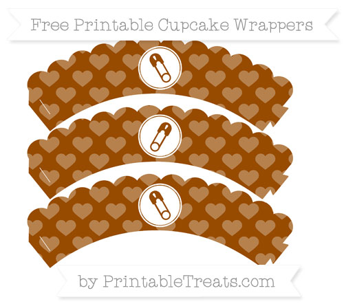 Free Brown Heart Pattern Diaper Pin Scalloped Cupcake Wrappers