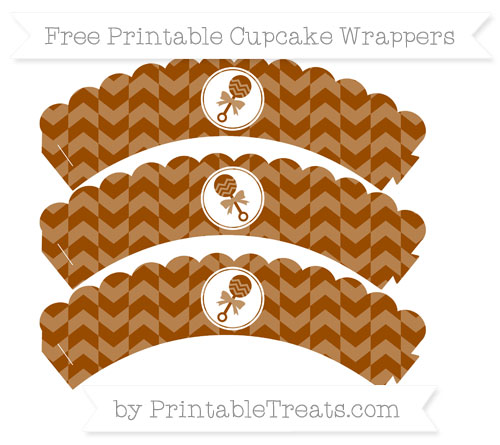 Free Brown Herringbone Pattern Baby Rattle Scalloped Cupcake Wrappers