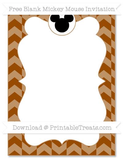 Free Brown Herringbone Pattern Blank Mickey Mouse Invitation