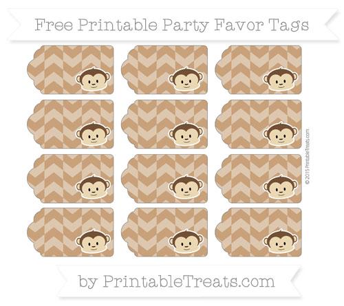 Free Brown Herringbone Pattern Boy Monkey Party Favor Tags