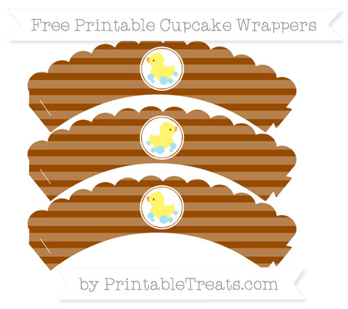 Free Brown Horizontal Striped Baby Duck Scalloped Cupcake Wrappers