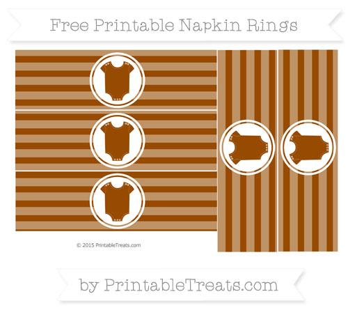 Free Brown Horizontal Striped Baby Onesie Napkin Rings