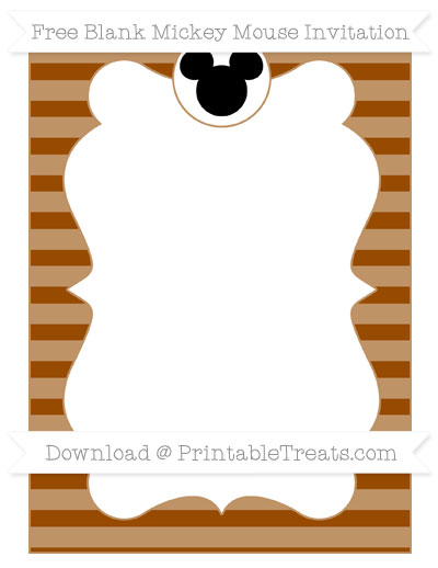 Free Brown Horizontal Striped Blank Mickey Mouse Invitation