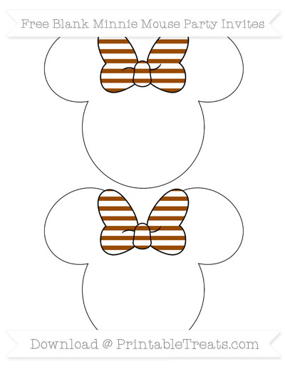 Free Brown Horizontal Striped Blank Minnie Mouse Party Invites