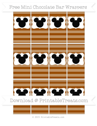 Free Brown Horizontal Striped Mickey Mouse Mini Chocolate Bar Wrappers