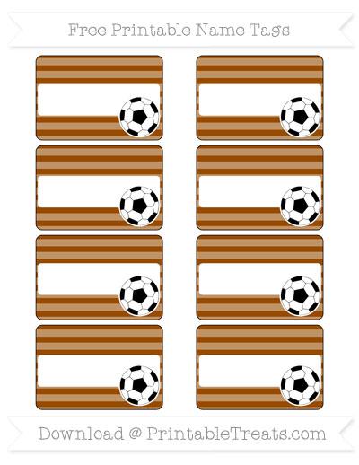 Free Brown Horizontal Striped Soccer Name Tags