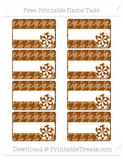 Free Brown Houndstooth Pattern Cheer Pom Pom Tags