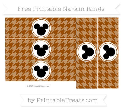 Free Brown Herringbone Pattern Mickey Mouse Napkin Rings