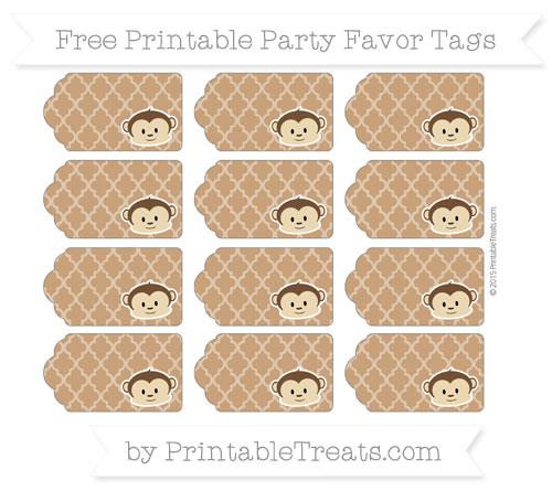 Free Brown Moroccan Tile Boy Monkey Party Favor Tags