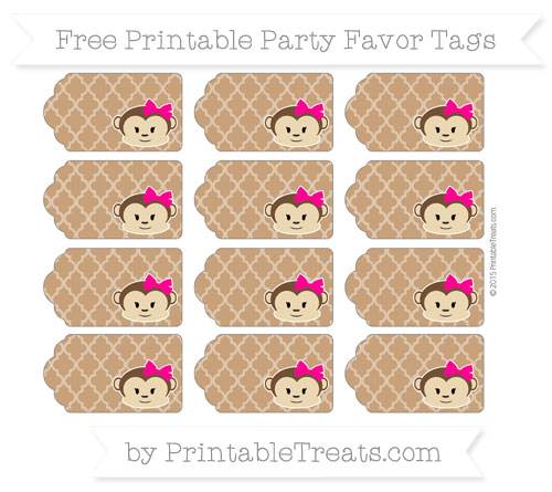 Free Brown Moroccan Tile Girl Monkey Party Favor Tags