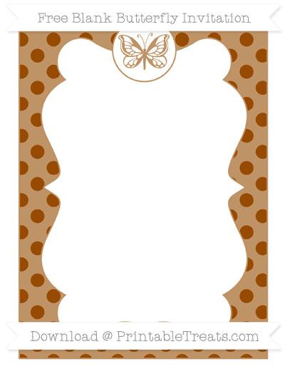 Free Brown Polka Dot Blank Butterfly Invitation