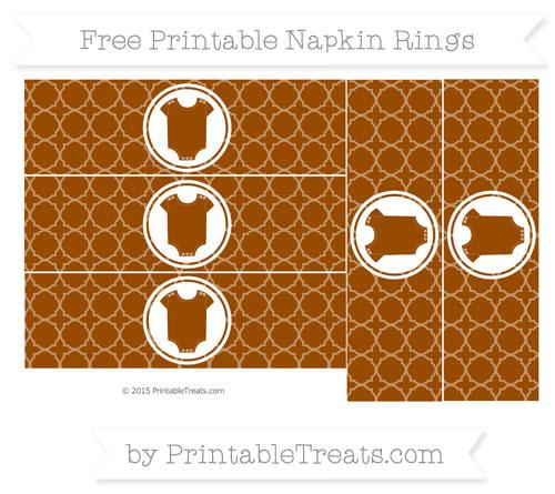 Free Brown Quatrefoil Pattern Baby Onesie Napkin Rings