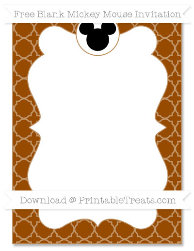 Free Brown Quatrefoil Pattern Blank Mickey Mouse Invitation