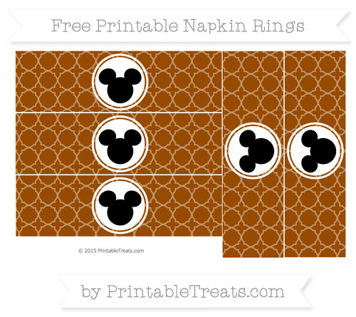 Free Brown Quatrefoil Pattern Mickey Mouse Napkin Rings