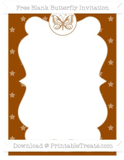 Free Brown Star Pattern Blank Butterfly Invitation