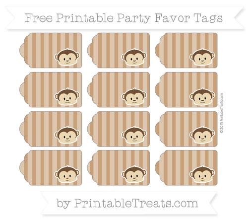 Free Brown Striped Boy Monkey Party Favor Tags