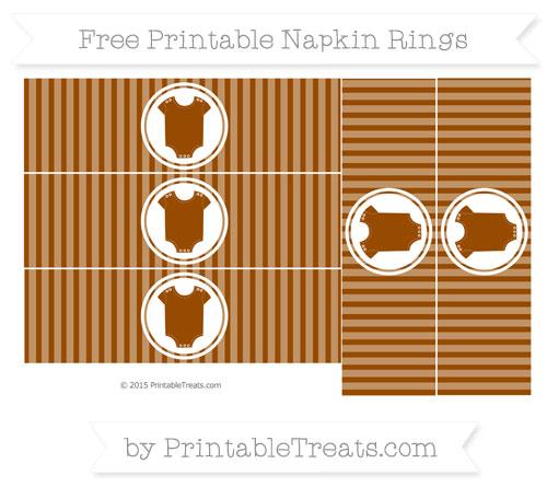 Free Brown Thin Striped Pattern Baby Onesie Napkin Rings