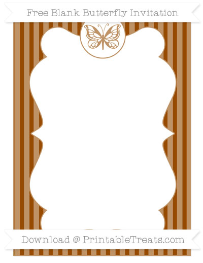 Free Brown Thin Striped Pattern Blank Butterfly Invitation