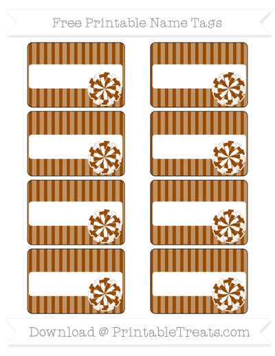 Free Brown Thin Striped Pattern Cheer Pom Pom Tags