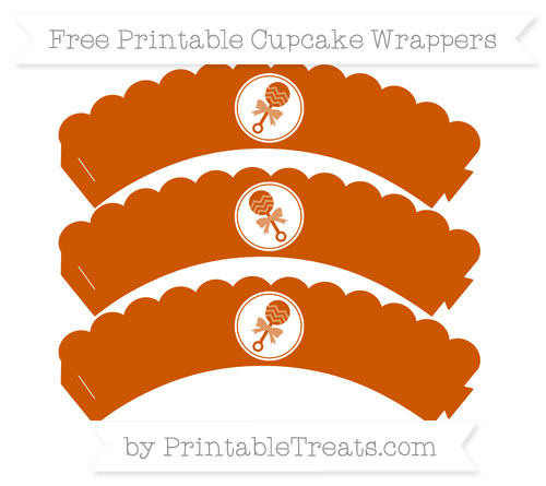 Free Burnt Orange Baby Rattle Scalloped Cupcake Wrappers