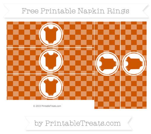 Free Burnt Orange Checker Pattern Baby Onesie Napkin Rings