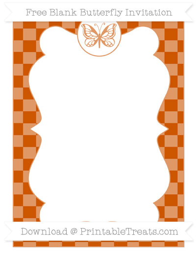 Free Burnt Orange Checker Pattern Blank Butterfly Invitation