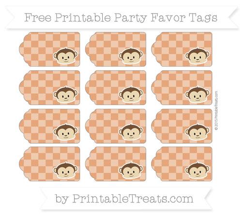 Free Burnt Orange Checker Pattern Boy Monkey Party Favor Tags