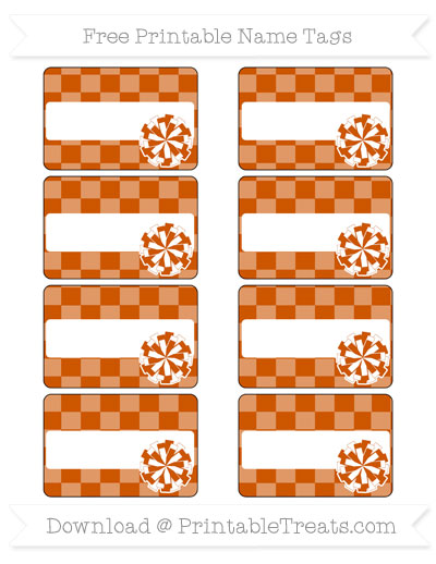Free Burnt Orange Checker Pattern Cheer Pom Pom Tags