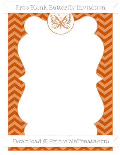 Free Burnt Orange Chevron Blank Butterfly Invitation