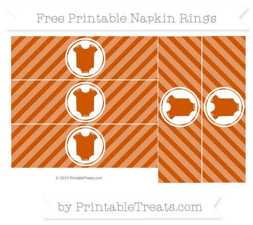 Free Burnt Orange Diagonal Striped Baby Onesie Napkin Rings